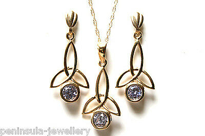 9ct Gold Celtic Lilac CZ Pendant and Earring Set Made in UK Gift Boxed
