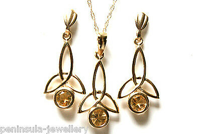 9ct Gold Citrine Celtic Pendant and Earring Set Gift Boxed Made in UK