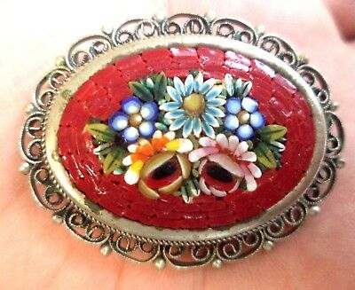 "Stunning Vintage Estate Signed Italy Micro Mosaic Flower 1 1/2"" Brooch!!! 8316F"