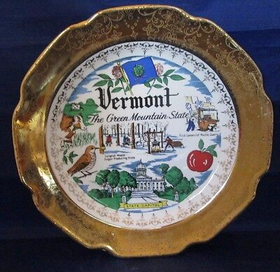 Vermont Vintage Collector Plate Crest-o-Gold by Sabin