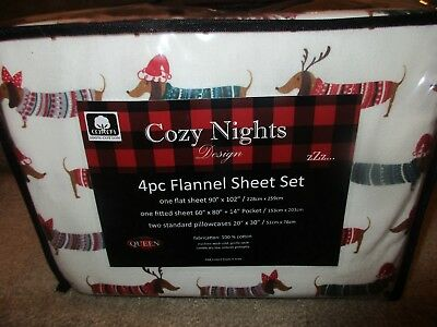 Christmas Holiday DACHSHUND Sausage Dog Sweater Flannel Queen 4pc Sheet Set NEW