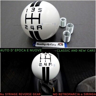 POMELLO cambio Auto BIANCO Epoca FIAT 500 f l r abart shift Knob withe marce Lev