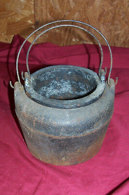 Antique Cast Iron Double Boiler Small Pot Vintage Old Kitchen Kettle Smelting 5""