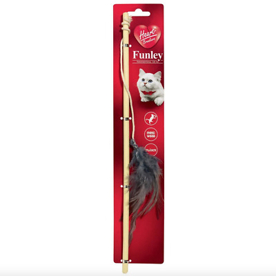 Cat Kitten 🐈 Toy Teaser Wand with FEATHERS 🐭 36cm