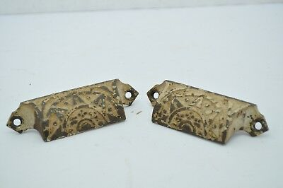 Antique Cast Iron Pair Eastlake Victorian Furniture Bin Pull Old Paint