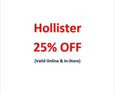SENT NOW! HCO Hollister 25% OFF Discount Promo-Coupon (*SALE & CLEARANCE*)