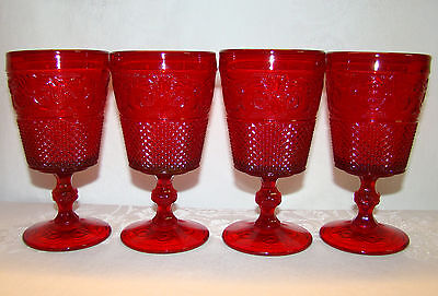 """4 Ruby Red Johnson Brothers Everyday Pattern 6 1/2"""" Water / Wine Glasses Goblets"""