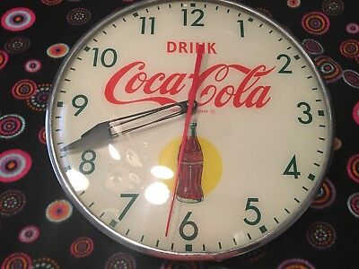 Vintage 50's Bubble Glass,Coca Cola Advertising (Bottle In Sun) Pam Clock,Sign