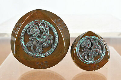 Pair of Vintage Chunky Brown Bakelite Buttons with Metal Inlay Flower Design