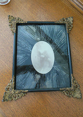 Antique Victorian Black Gesso Frame with Brass Scroll Metal Trim on Corners