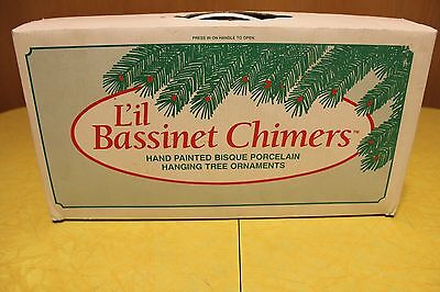 Lil Chimers Box of 12 Hand Painted Bisque Porcelain Tree Ornament Bassinet Angel