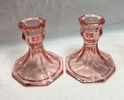 """Antique Pink Depression Glass Candlestick Pair Set Of 2 4"""" Tall Great Condition!"""