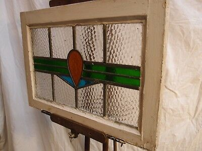 COLOURED LEADED LIGHT ART DECO DESIGN STAINED GLASS WINDOW in OLD PINE FRAME