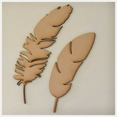 Feather Feathers Set Of 2 MDF Shape DIY Raw Cut Out Art Laser Craft Decor 3mm
