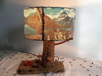VTG MID CENTURY CACTUS Well Pump Lamp WhipStitch 4 Panel Shade WESTERN MOUNTAINS