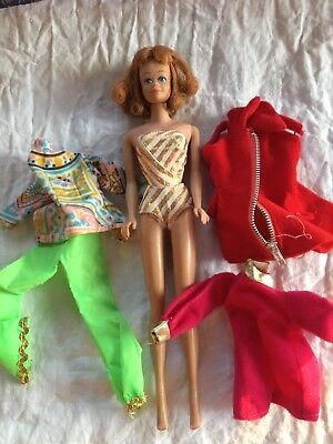 Vintage 1958 1962 Midge Barbie Doll In Bathing Suit + Extra Clothes