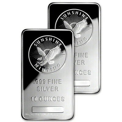 Two (2) - 10 oz. Silver Bars - Sunshine Minting - .999 Fine