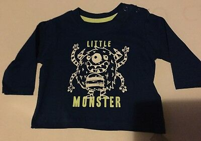 Baby Boy Navy Blue Long Sleeve Top with Little Monster detail
