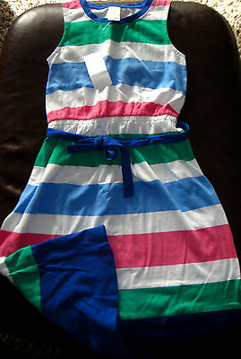 Gymboree Stripes and Anchor striped knit cotton long dress NWT 8