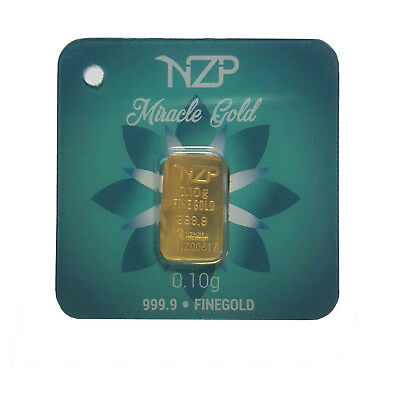 0.10 (1/10) Gram Gold Bar From Nzp Gold 999.9 Pure
