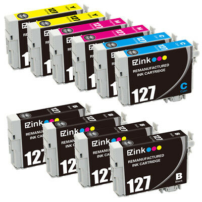 10 Pack for 127 BCMY Ink fit Epson WorkForce WF-3520 WF-3530 WF-3540 & More