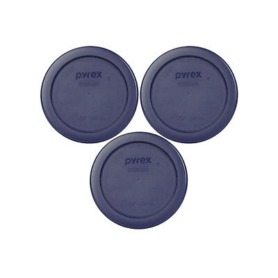 Pyrex 7202-PC 1 Cup Dark Blue Round Plastic Lid 3Pk for 7202 Glass Bowl New