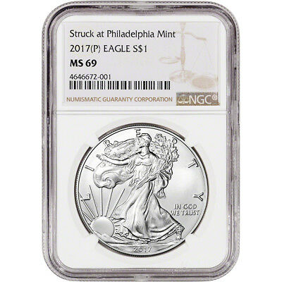 2017-(P) American Silver Eagle - NGC MS69 - Large Label