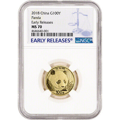2018 China Gold Panda 8 g 100 Yuan - NGC MS70 Early Releases