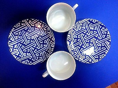 """2 Fitz and Floyd """"IN GLAZE BLUE"""" Cobalt Blue White Porcelain Cup and Saucer"""