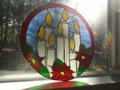 """Stained Glass Window Panel Suncatcher Large Candle & Pointsettia Christmas 20"""" /"""