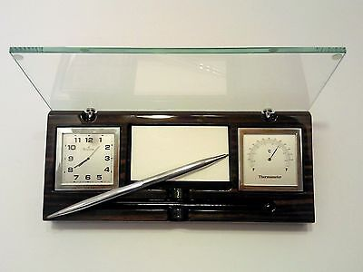 Bulova B2572 Desk  Clock Thermometer And Card Holder + Pen. Tempered Glass Cover