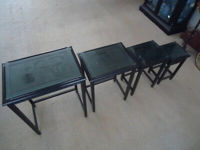 Nesting Tables Living Room Set Wood Coffee Antique Ornate carved