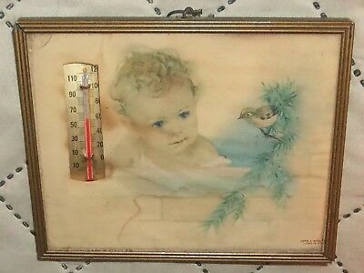 Vintage Advertising Thermometer Baby Picture Bird AN EARLY CALLER Copr. C. Moss