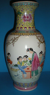 Exquisite Vintage Japanese Chinese Asian Coloful Maiden Floral Vase