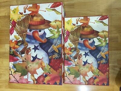 Michelle Palmer Rectangular Hat Boxes Snowman Fall Leaves Lindy Bowman Company