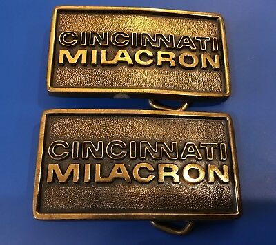 LOT 2 Cincinnati Milacron Solid Brass Vintage 1970's Belt Buckle *BEST PRICE*