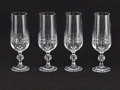 Lot of Four (4) Crystal Champagne Glasses Stemmed Flute Style