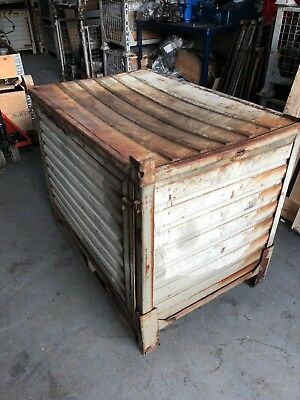 Used Metal Collapsible Storage Container Pallet