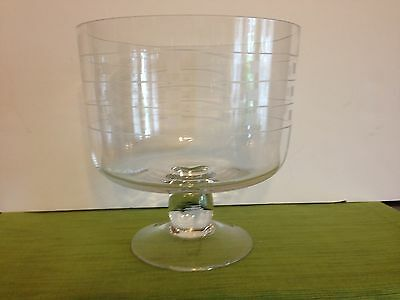Vintage Trifle Pedestal Dish With Wheel Cut Design....art Deco Look Lines Wow!!