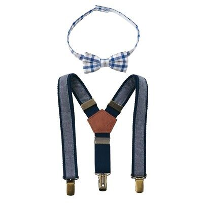 Mud Pie E8 Baby Boy Chambray Bow Tie Suspender Set (One Size) Up To 5T 1582153