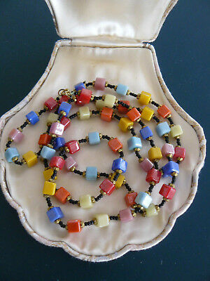 """40"""" Vintage Art Deco Harlequin Glass Square Cube Bead Necklace"""