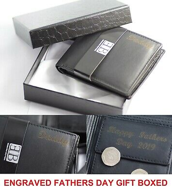 Mens Personalised Engraved Quality Soft Black Leather Credit Card Coin Wallet