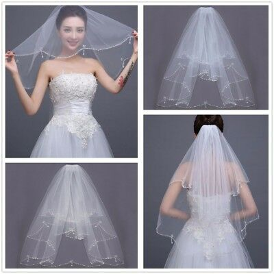 2 T Ivory White Wedding Bridal Veil Elbow Length Pearl Beaded Edge With Comb US