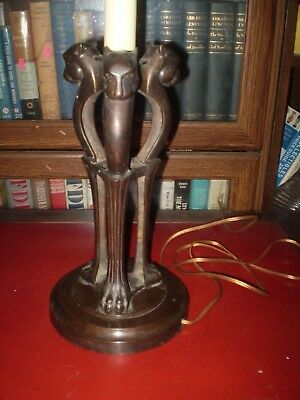 Vhtf  Vintage Cast Bronze Art Nouveau Deco Table Lamp Panther Cougar Lion 3 Head