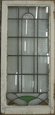"LARGE OLD ENGLISH LEADED STAINED GLASS WINDOW Pretty Geometric 19.5"" x 40.5"""