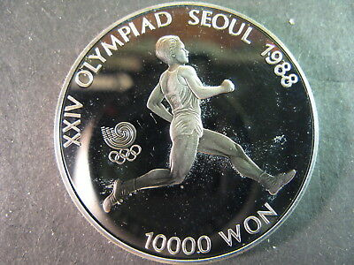 Korea-South 10,000 Won Silver Proof Coin Dated 1988 Runner, Km# 56, Pretty !