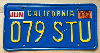 Vintage California 1980 Blue Yellow License Plate 079 STU plates 1970s 1980s