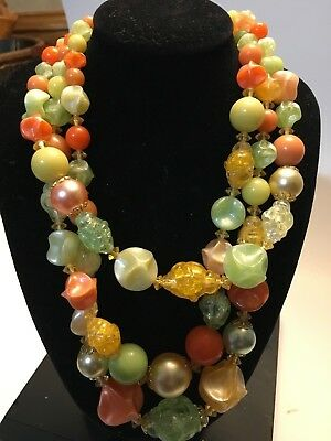 Triple Layer Fun Colorful  Beaded Necklace Fashion Jewelry