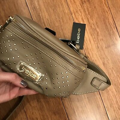 Bebe Los Angeles Joan diamond studs taupe Fanny Pack bag 💝 1sz NEW $69 gift
