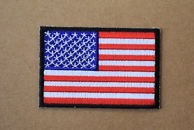 """#5097 American Flag,US Flag Black Border Embroidery Iron On Patch 3""""x2"""""""